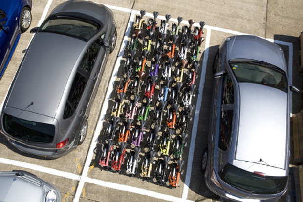 How many Bromptons can you fit in a standard carpark? 42!