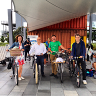 At the Go-by-Bike Breakfast with (l to r) Pippa Coom, me, Richard Barter, Christopher Dempsey.