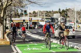 Beach Road Cycleway, Auckland's first fully-protected cycleway, connects the Grafton Cycleway to Britomart and the Waterfront Boulevard.
