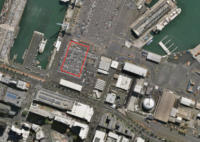 The footprint of the building in red. Image: Applicant's resource consent application
