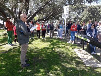 Me introducing the tour to walkers at Point Erin. Photo: Pippa Coom