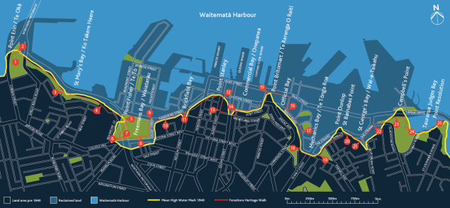 Map of the walk tracing the pre-1840 shoreline.